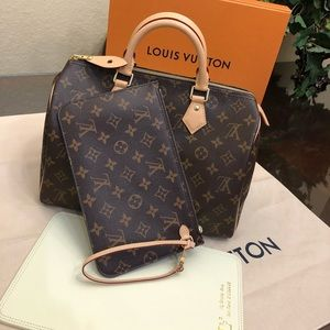 Louis Vuitton Speedy 30 and neverfull pouch